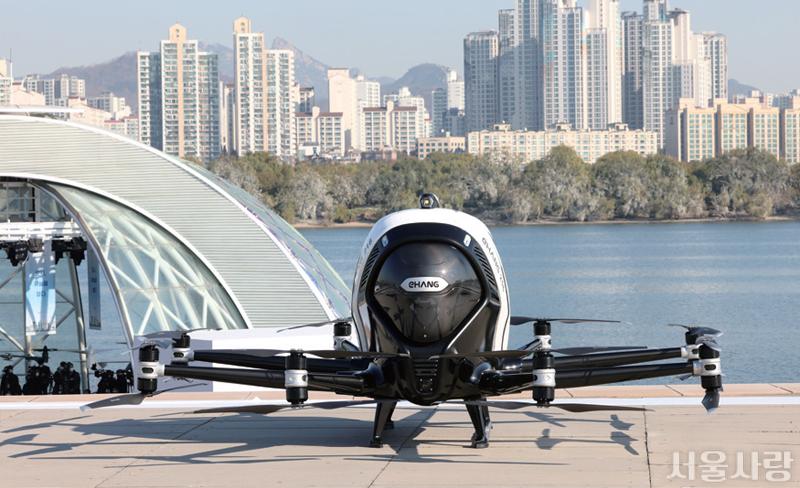 전국 최초로 하늘길 날아다니는 유인용 드론 택시