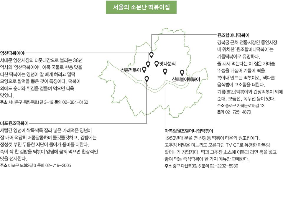 서울의 소문난 떡복이 집 자세한 내용 아래 참조