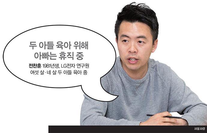 전찬훈 1981년생, LG전자연구원, 여섯 살·네 살 두 아들 육아 중. 두 아들 육아 위해 아빠는 휴직 중