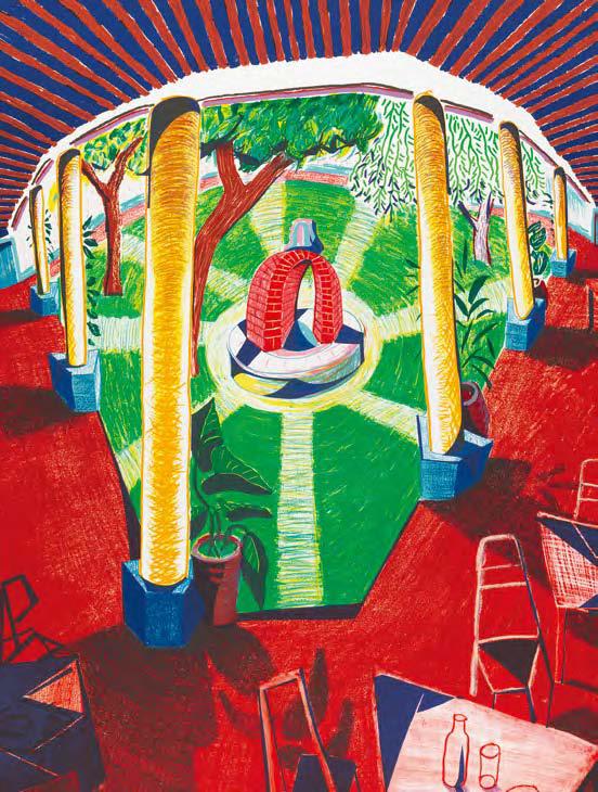 데이비드 호크니, 호텔 우물의 경관 Ⅲ, 1984 – 5, 석판화 에디션 80, 123.2ⅹ97.8 cm