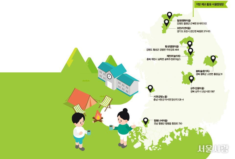 캠핑도 하고, 추억도 되살리고 지방 폐교 활용 서울캠핑장