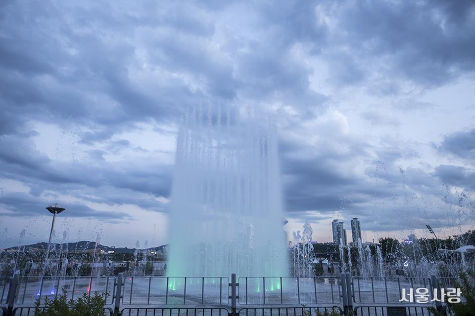 음악에 맞춰 하늘로 치솟는다. 뚝섬한강공원 음악분수