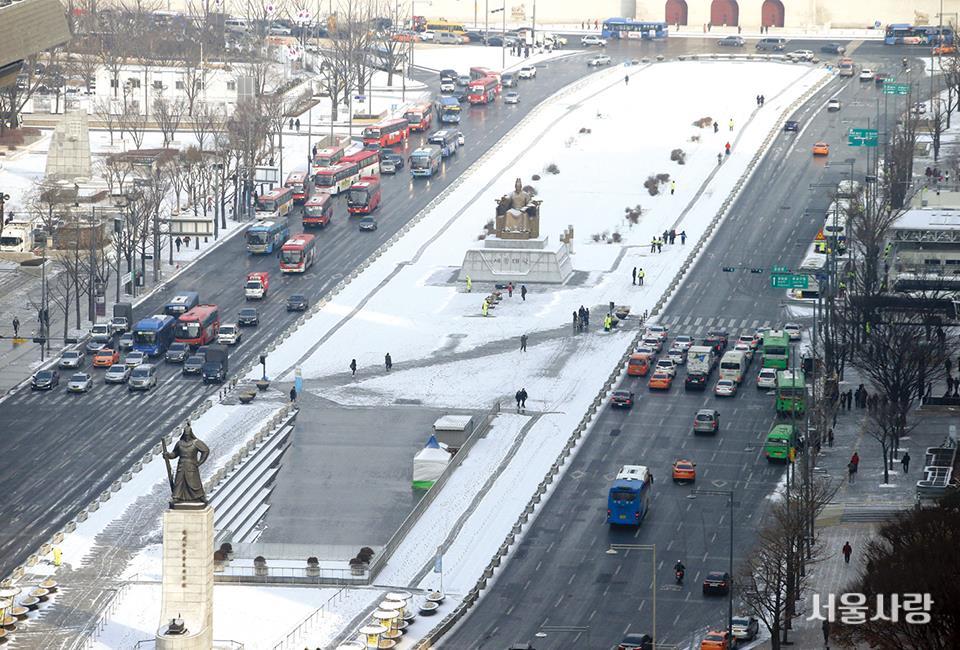 광화문광장 일대의 겨울 풍경. Ⓒ 연합뉴스