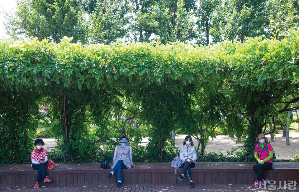 사회적 거리를 두고 선유도공원을 즐기는 시민들.