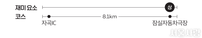 재미 요소 코스-자곡IC→8.1km→잠실자동차극장