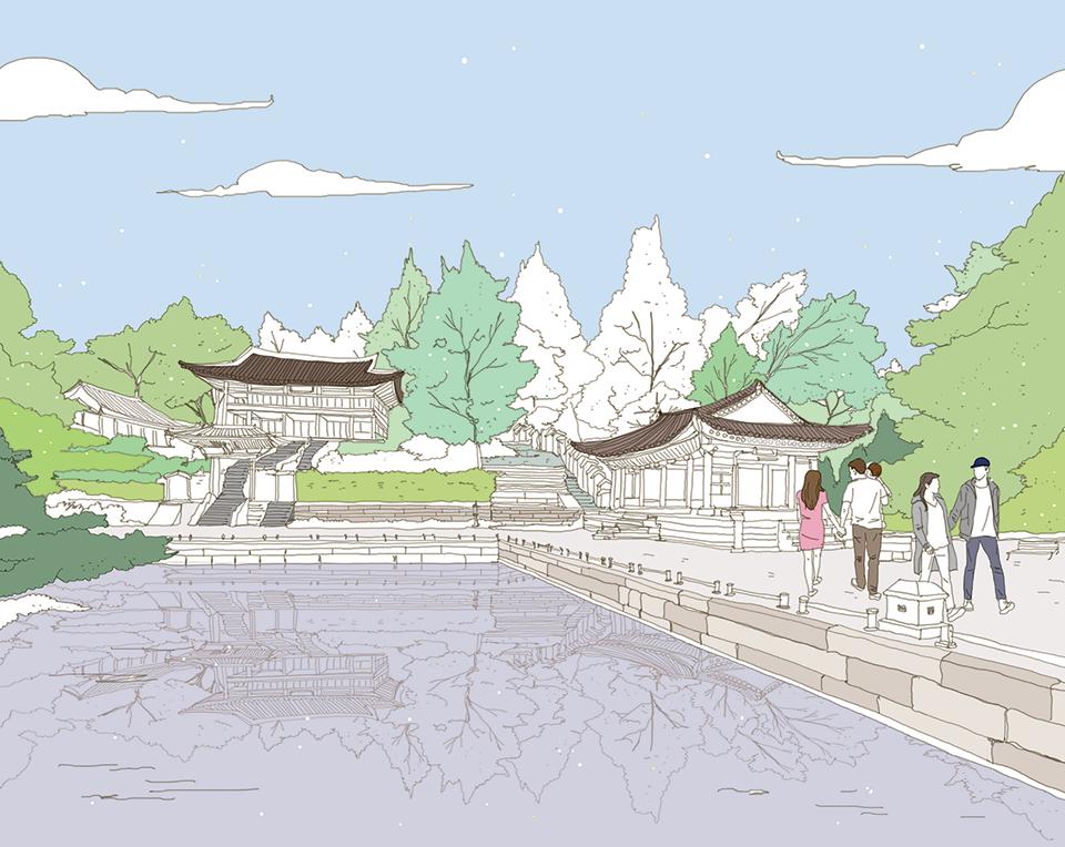서울을 색칠하자 벚꽃 만발한 남산 작가채색본