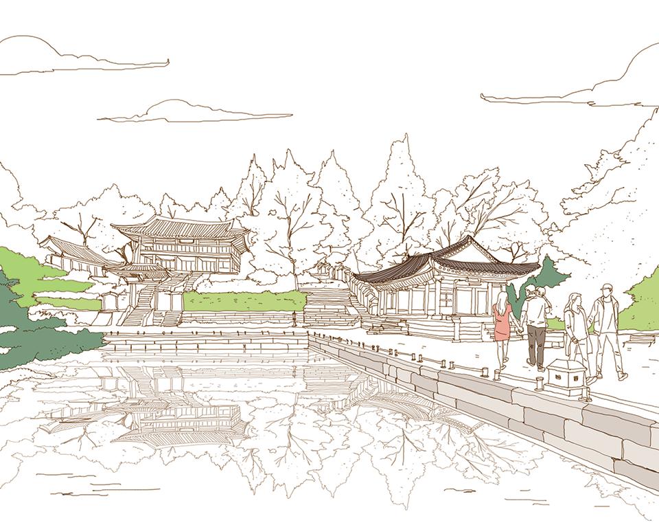 서울을 색칠하자 벚꽃 만발한 남산 부분채색편
