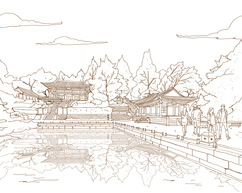 서울을 색칠하자 벚꽃 만발한 남산 무채색편