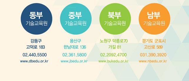 동부기술교육원, 중부기술교육원, 북부기술교육원, 남부기술교육원 홈페이지 새창으로 열림