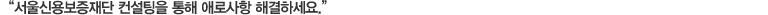 '서울신용보증재단 컨설팅을 통해 애로사항 해결하세요.'