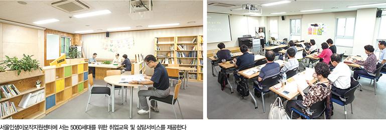 서울인생이모작지원센터에서는 서는 5060세대를 위한 취업교율 및 상담서비스를 제공한다