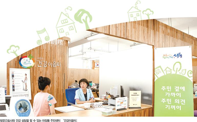 방문간호사와 건강 상담을 할 수 있는 마장동 주민센터 건강이음터.